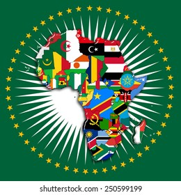 Africa,continent, flags, map and africa Union flag
