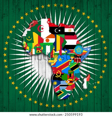 Flag Map Of Africa.Africacontinent Flags Map Africa Union Flag Stock Illustration
