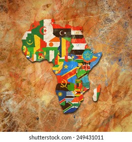 Africa,continent, flags, maps,and wall background
