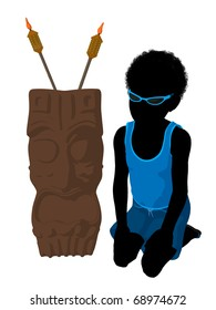 African american beach boy with tiki illustration silhouette on a white background