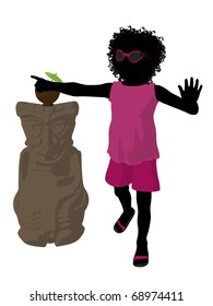 African american beach girl with tiki illustration silhouette on a white background