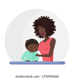 African american black mother supporting crying little son flat illustration. Mental disorder, psychotherapy concept. Mom consolation sad boy cartoon characters. Woman comforting upset kid