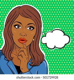 African american business woman with thinking bubble in pop art comic style. African manager woman or business boss woman brainstorming concept.
