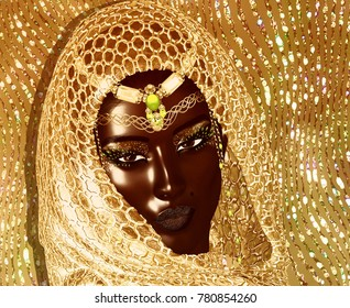 African American Fashion Beauty with head veil and glitter cosmetics. Perfect for expressing themes of fashion,diversity,hairstyles,beauty and makeup. 3d digital art render.