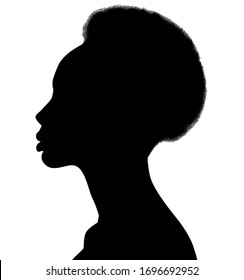 African American female, African profile picture, silhouette. girl from the side with short hair, Afro hair
