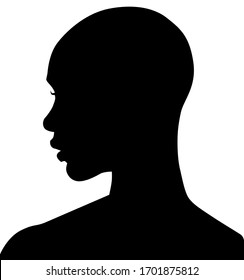 African American female, African profile picture, silhouette. girl from the side with short hair