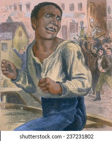 African American fugitive running in an urban street from a mob of white men holding crude clubs In the 1880s during the Jim Crow era, 1882 engraving with modern color.