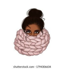African American Girl In Scarf Background Hand Drawn Illustration