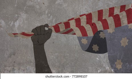 African American Hand Holding the Usa Flag. Martin Luther King Day Illustration on Concrete Wall Background