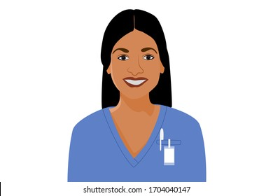 African american health care worker portrait. Smiling young woman avatar.