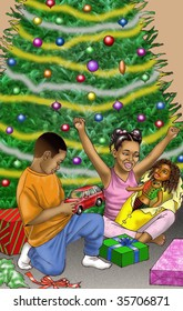 African American kids Christmas day