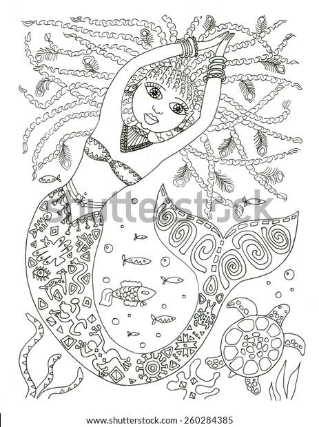 African american mermaid coloring page