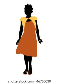 African American teenager silhouette on a white background