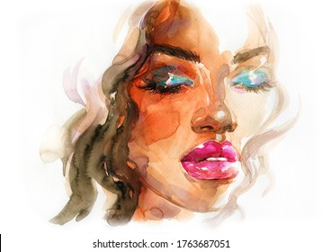 african american woman. beauty fashion illustration. watercolor painting