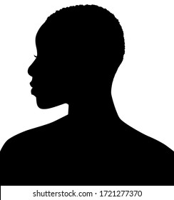 African American woman, African profile picture, silhouette. Girl from the side with very short hair. silhouette