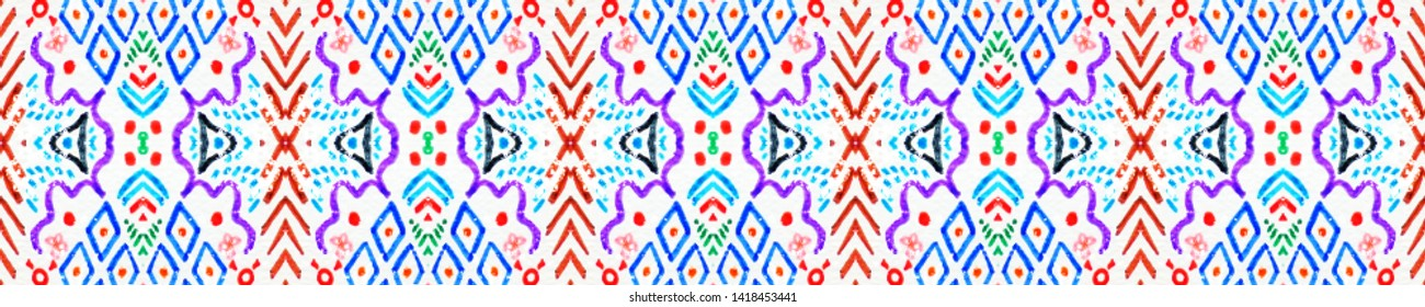 African art drawing. Seamless aztec pattern. Navajo chevron wallpaper. Abstract texture. Seamless folk ornament. Vintage retro border. White, blue, red, green, yellow african art drawing.