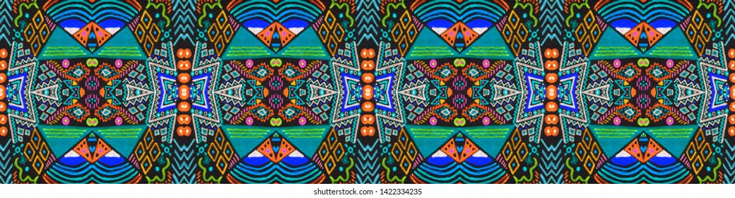 African art drawing. Seamless aztec pattern. Geometric folk style. Endless indian motif. Navajo retro style. Seamless cherokee print. Black, cyan, pink, green, gold african art drawing.