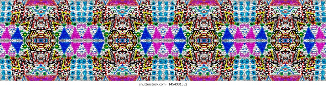 African art drawing. Seamless aztec pattern. Mexican geometric backdrop. Indian style. Retro folk design. Tribal decorative print. White, blue, pink, yellow, red african art drawing.