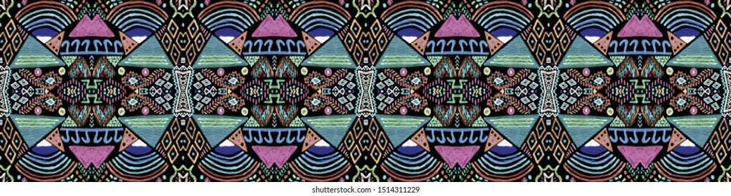 African art drawing. Seamless aztec pattern. Seamless geometric print. Vintage patchwork. Modern graphic design. Vintage style. Black, cyan, pink, green, gold african art drawing.