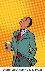 African businessman drinking coffee and looking up. Pop art retro comics cartoon  illustration kitsch drawing