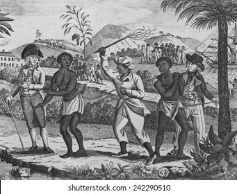 African captives for the Caribbean slave trade. In the foreground a women is whipped. Several groups of newly arrived slaves are leaving the port area in coffles. Late 18th century engraving.