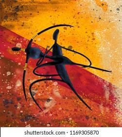 African couple dancing digital painting canvas artwork