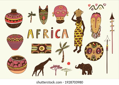 African culture masks, woman, elephant and giraffe silhouette, pot, palm tree illustrations set