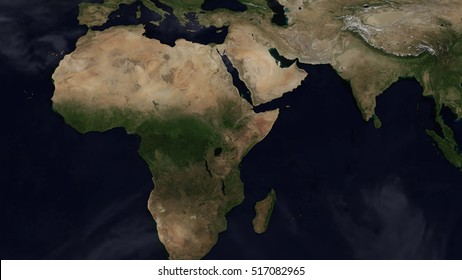 African Day Map Space View (Elements of this image furnished by NASA)