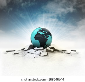 African earth globe stuck into ground with flare and sky illustration