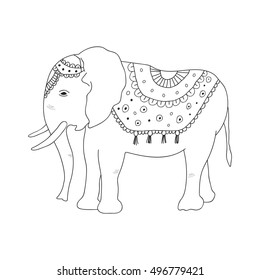 African elephant heat. Hand draw baby elephant in ethnic style