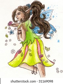 African Fairy with dark skin tones drawn with colored pencils.
