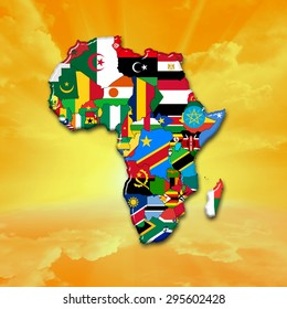 African flags,maps, continent ,sun,sky and clouds background