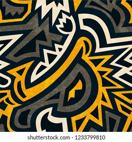 african geometric seamless pattern with grunge effect.
