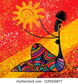 African girl holds the sun digital painting artwork on red abstract background illustration