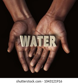 African hand with text Water, 3d rendering
