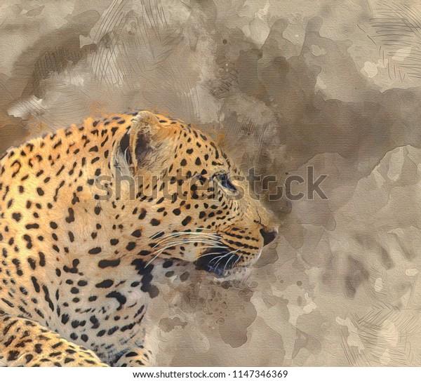 African leopard portrait,digital art,watercolor style