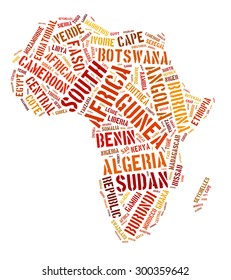 African map shape from word cloud arrangement isolated on white background.