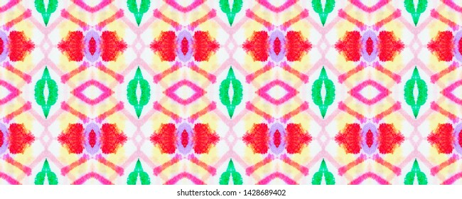 African Pattern. Bohemian Repeated Kaftan Design. Colorful and Red. Fashion Abstract Ethnic Ornament. Seamless Watercolor African Pattern.