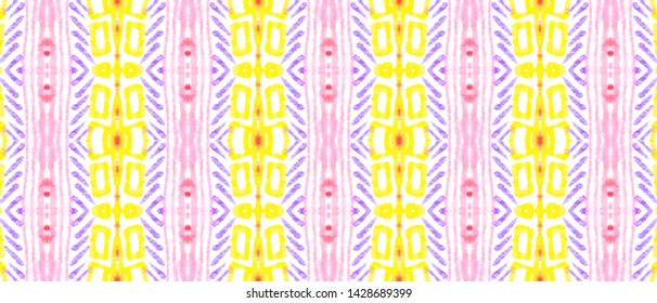 African Pattern. Fashion Abstract Ethnic Decoration. Aquarelle Tie Dye Kaftan Design. Red and Yellow Colors. Seamless Watercolor African Pattern.