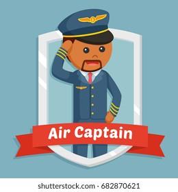 african pilot in emblem - Shutterstock ID 682870621