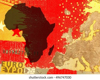 The African policy of Europe - A European map in golden colors is right of the African continent in black. Background: red.