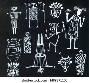 African Rock paintings,flat sketch for your design.Ethnic man in old painting silhouette.African masks and bodies with spears in chalkboard style. geometric pattern.