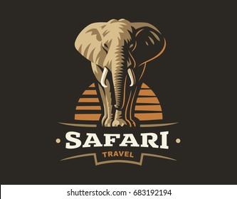 African safari elephant logo -  illustration, emblem design on dark background