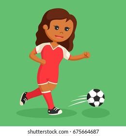 african soccer ball player girl running
