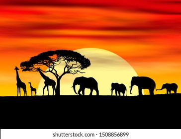 African style family walk on a hot sunset background