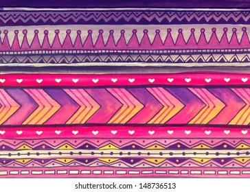 African Watercolor Pattern. Raster Illustration