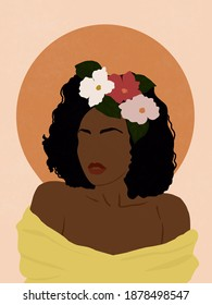 African Woman with Flowers on Her Head, Painting to Print on Anything, Print on Paper or Canvas, Boho Woman Decorate Wall Art, Black woman art, Fashion woman art printable