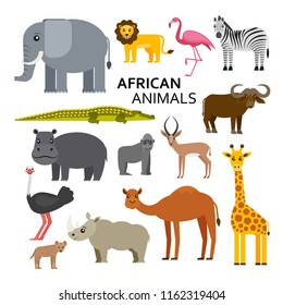 African or zoo animals. Cute cartoon characters
