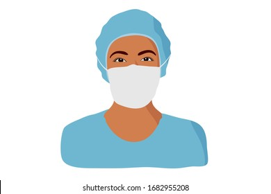 African-american nurse. Female hospital worker in uniform with mask, portrait illustration.