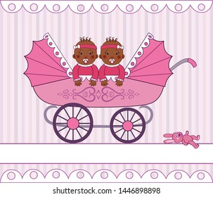 African-American twin girls with nipples, sitting in a pink stroller for twin babies, a toy rabbit near the stroller, cartoon, vector, retro illustration with place for text. Greeting card.